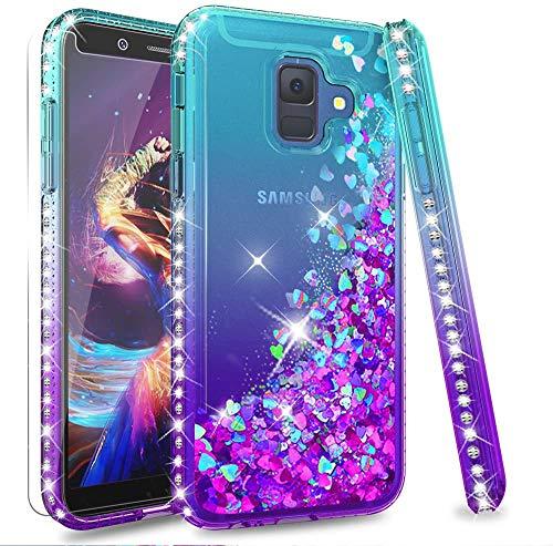 LeYi Coque Galaxy A6 2018 avec Verre Trempé [Lot de 2], Fille Personnalisé Liquide Paillette Flottant Transparente 3D Silicone Gel TPU Antichoc Kawaii Étui pour Samsung Galaxy A6 2018 Bleu Violet