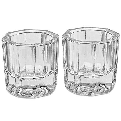 Bulex 2 Pack Dappen Dish Cups for Nail Art Acrylic Liquid - Clear Glass Nail Monomer Liquid Bowl Dampen Dish Acrylic Powder Holder, Acrylic Glass Jar for Nails
