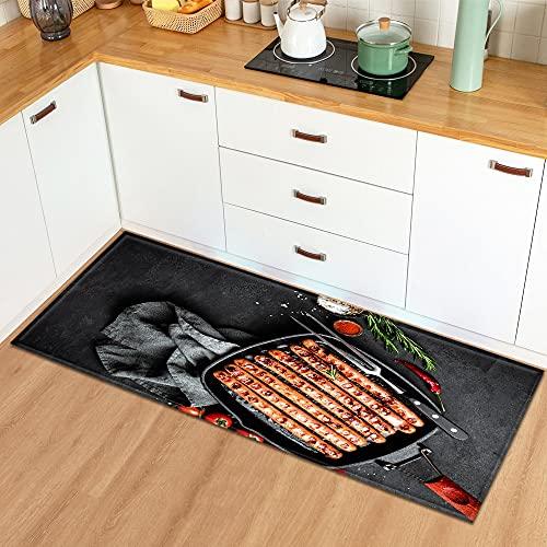 OPLJ Felpudo de Entrada Alfombra de Cocina para el hogar Dormitorio Balcón Decoración Alfombra de Piso Estampado patrón de condimento Alfombra Antideslizante A18 60x180cm