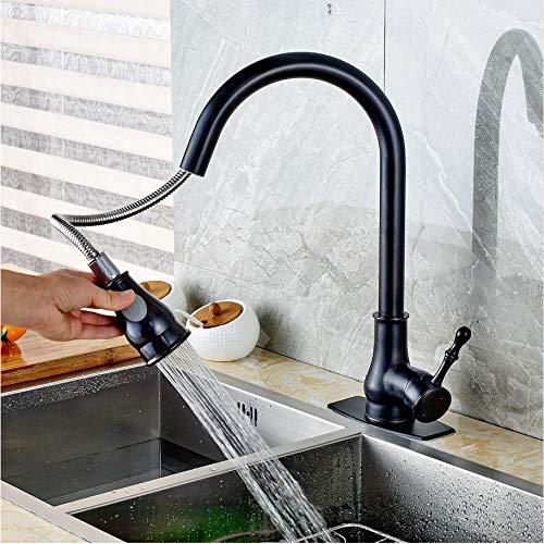 LLLYZZ nieuwe aankomst uittrekken olie ingewreven brons keukenkraan zwenkuitloop wastafel mengkraan w/plaat