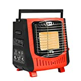 WSHA 2 in 1 Portable Propane Heater 5000BTU Outdoor Camping Gas Stove, Piezoelectric Electronic Ignition, for Ice Fishing Backpacking Hiking