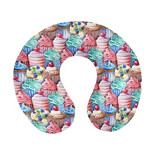 Aquarell Cupcakes Muffins Niedlicher Dessert Komfort U-förmiger Memory Foam Travel Neck Kissen zum Entspannen und Schlafen im Flugzeugbüro oder zu Hause
