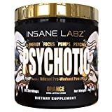 Insane Labz Psychotic Gold, High Stimulant Pre Workout Powder, Extreme Lasting Energy, Focus, Pumps and Endurance with Beta Alanine, DMAE Bitartrate, Citrulline, NO Booster, 35 Srvgs,Orange