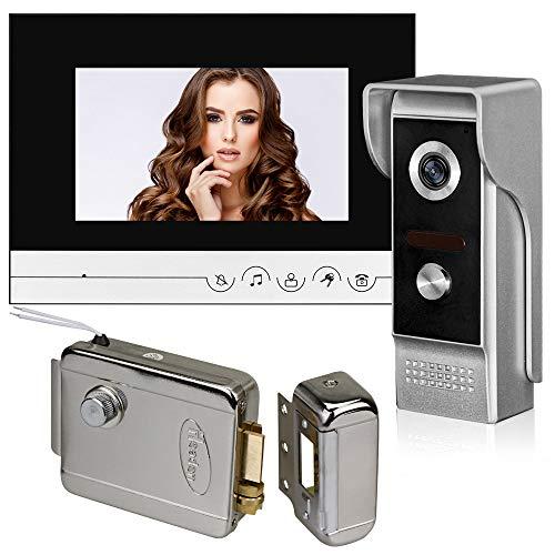 uoweky 7 '' TFT Color por Cable Sistema de Intercomunicación con Video Cámara Videoportero Teléfono con IR 700TVL Unidad Exterior de Metal para el Hogar (1 cámara 1 monitor 1 bloqueo)