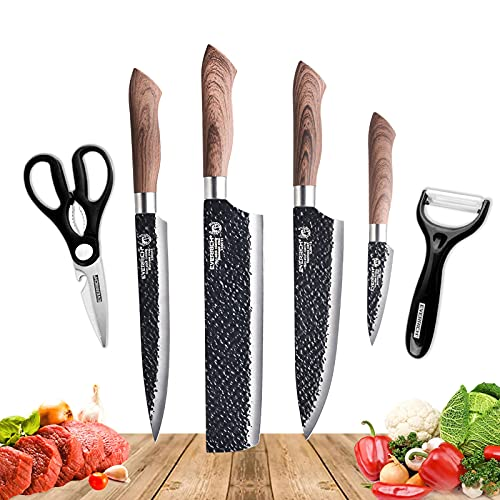Fancy Petty 6 Pcs Stainless Steel Kitchen Knife Set Professional Chef Knife Set with Gift Box Sharp Knife Set with Peeler and Scissor for Cooking Paring Cutting Black