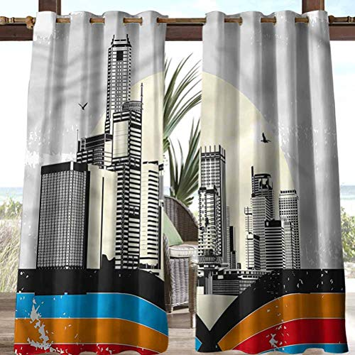 Anmaseven Modern Polyester Shade Screen Outdoor Panel Drape for Pergola, Porch, Deck and Cabana Urban Scene with Skyscrapers 84' W by 84' L(K214cm x G214cm)