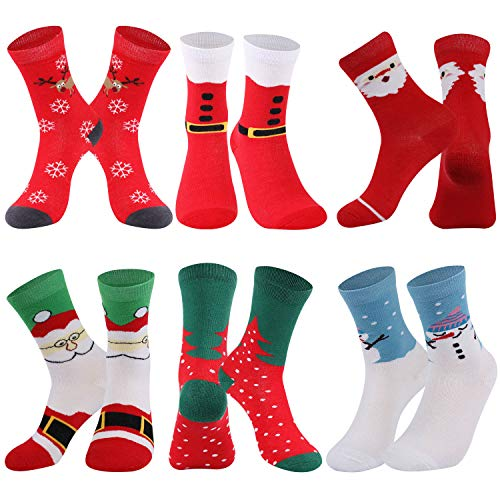 Christmas Socks for Women, RTZAT Women's Cotton Christmas Cartoon Pattern Santa Claus Elk Thanksgiving Decorations Gift Dress Socks, 6 Pairs