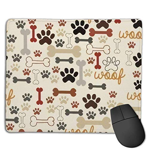 Alfombrilla de ratón para juegos con huesos y huellas de perro, color crema, base de goma antideslizante, superficie para ordenador, teclado y escritorio, 9.8 x 11.8 pulgadas