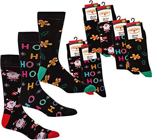 socksPur SOCKS PUR MERRY Xmas SOCKEN HO HO HO 2er- BÜNDEL (42-47, Gr&farbe schwarz: Motiv - HO HO HO - NIKOLAUS)