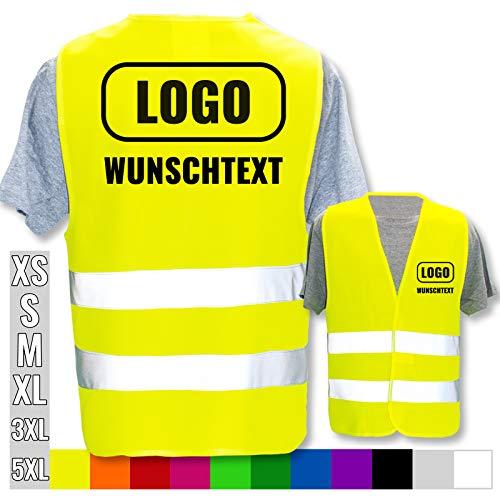 Persönliche Warnweste selbst gestalten mit eigenem Aufdruck * Bedruckt mit Name Text Bild Logo Firma, Menge:3 Warnwesten, Farbe/Position:Gelb/Rücken + Linke Brust