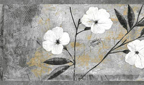 Dundee Deco BD6054 Peel and Stick Wallpaper Border - Floral White, Gray, Brown, Black Abstract Flowers Wall Border Retro Design, 15 ft x 7 in (4.57m x 17.78cm), Self Adhesive