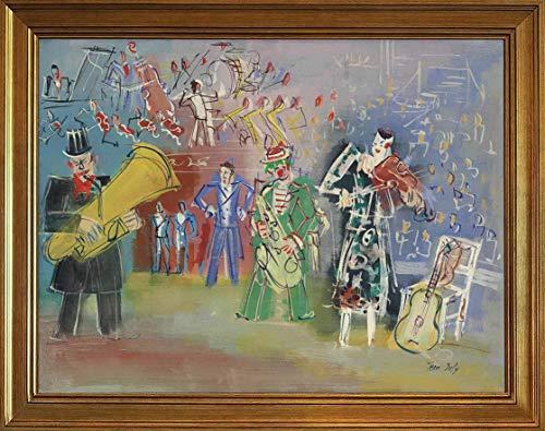 Jean Dufy Klassisch Rahmen Giclee Auf Leinwand drucken-Berühmte Gemälde Kunst Poster-Reproduktion Wand Dekoration Fertig zum Aufhängen(Der unerwünschte Schnorchel) #JK