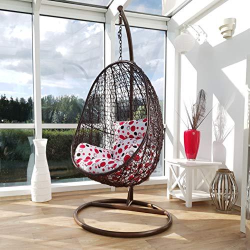 Kideo® Komplettset: Hängesessel mit Gestell und Sitzkissen, Indoor & Outdoor, Polyrattan, Swing Chair, Rattanmöbel, Lounge (braun/rot-weiß Punkte)