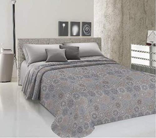 CIRANOCASA Tagesdecke Frühling Sommer Doppelbett 260 x 280 Kreise Beige Grau Baumwolle Piquet Jacquard Made in Italy SX