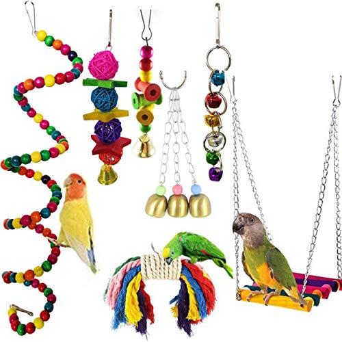Wonninek Bird Toys Papageien Spielzeug 7 Stück Hängende Schaukel Kauen Glocke Spielzeug für Käfig Conures Sittiche Nymphensittiche Aras Finken Mynah Wellensittiche