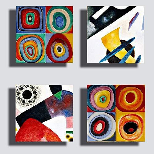 Printerland Quadri stile Kandinsky, 4 Pezzi, 30 x 30 cm, Giallo Blu Rosso, Stampa su Tela Canvas, Arredamento XXL, Arredo per Soggiorno Salotto Camera da Letto Cucina Ufficio Bar