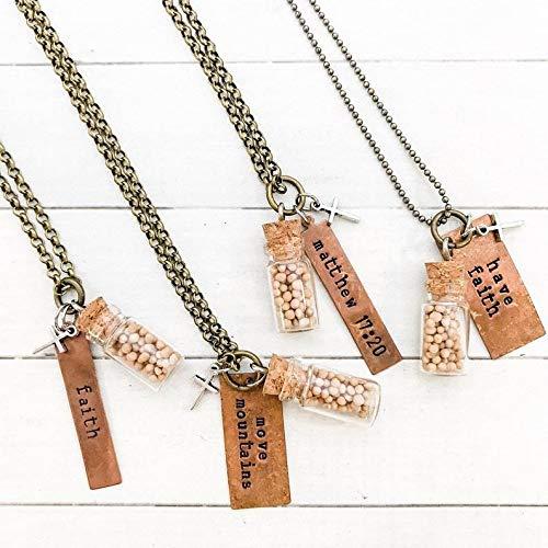 UEYR Seed Senf Halskette, Religiöser Schmuck für Frauen, Inspirierend Halskette für Frauen, Hand Stamped Damen Halskette, Christian Geschenke für Sie