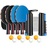 XDDIAS Raquette de Ping Pong Professionnel Set, 4 Raquette de Tennis de Table + Rétractable Filet de Table Tennis + 8 Balle, Portable Ping-Pong Accessoire (Bleu)