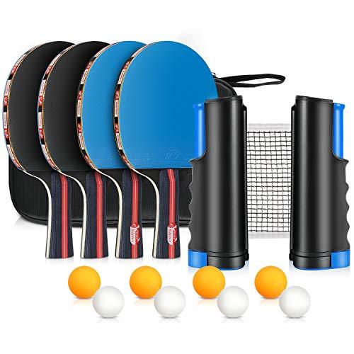 XDDIAS Instant Tischtennis-Set, 4 Tischtennisschläger/Schläger + Ausziehbare Tischtennisnetz + 8 Bälle, Ping Pong Set Spiel (Blau)
