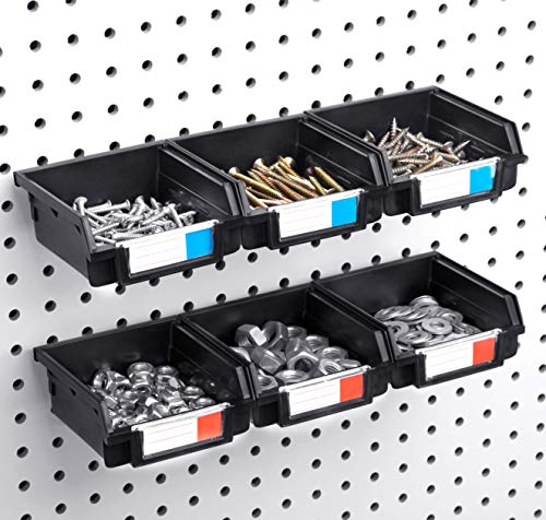 Pegboard Bins - 6 Pack - Hooks to 1/4' or 1/8' Hole Peg Board - Organize Hardware, Accessories, Attachments, Workbench, Garage Storage, Craft Room, Tool Shed, Hobby Supplies, Small Parts