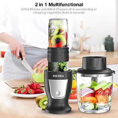 Mixer-Smoothie-Maker-Fochea-Standmixer-300-Watt-Mini-Smoothie-Mixer-2-in-1-Multifunktion-Smoothiemaker-Fleisch-ZerkleinererIce-Crusher-24000UMin-mit-570ml-Sport-Flasche-BPA-frei-Tritan
