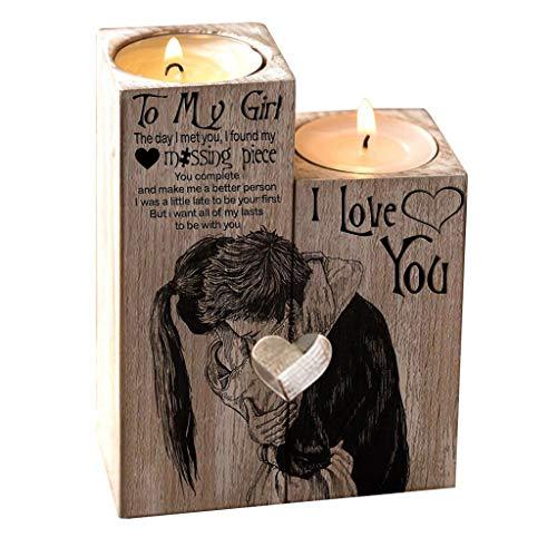 Artistic9 Valentinstag Kerzenhalter Holz Rustikale Kandelaber Couchtisch Dekorative Mittelstücke Paar Porträt Buchstaben Schnitzen Kerzenhalter für Wohnzimmer Esstisch