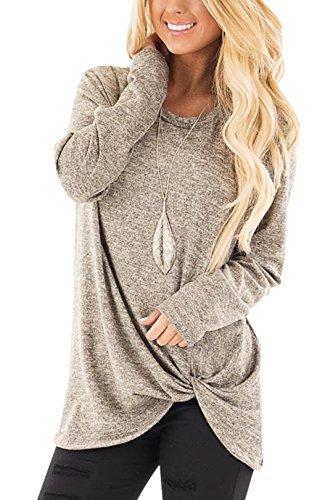 YOINS Pull Long Femme T-Shirt Sport Casual Top Décontracté Chemise Femme Manche Longue Grand Taille,Nouveau-kaki,36-38 EU(S)