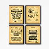 WallBuddy Vintage Typewriter Patent Posters Set de 4 grabados para máquina de escribir de escribir Art Gift for Writer Gift Office Wall Art WB43-234-235-236 (8.3 x 11.7 (A4), Vintage)