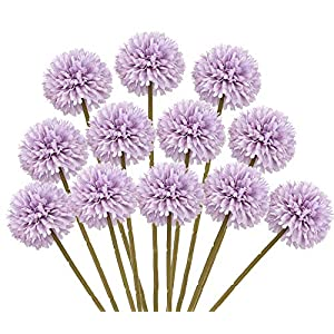 Mossyard 12 Pcs Artificial Chrysanthemum Ball Flowers, Silk Small Hydrangea Bouquets for Home Garden Party Wedding Office Decoration, DIY Floral Arrangements, Centerpieces (Light Purple)