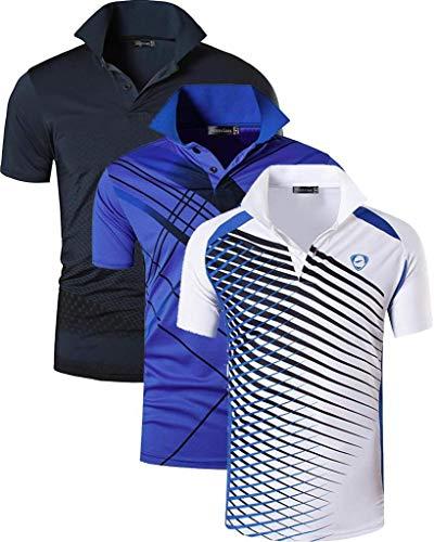 Jeansian Herren-Poloshirt, schnelltrocknend, für Sport im Freien wie Golf, Tennis, Bowling, passend LSL195, 3 Stück - - X-Groß