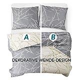Bedsure Baumwolle Bettwäsche 135x200 cm 4 teilig Grau/Beige Bettbezug Set mit schickem Zweige Muster, weiche Flauschige Bettbezüge mit Reißverschluss und 2 mal 80x80cm Kissenbezug - 7