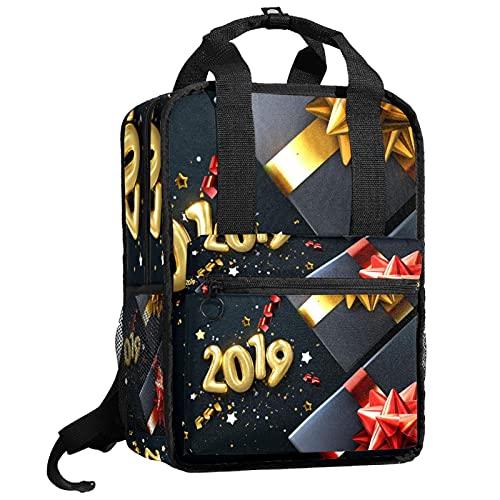 AITAI Negro 2019 cajas de regalo de Navidad patrón mochila Bookbag para adolescentes College Daypack bolsa de viaje