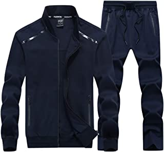 Men's Casual 2 Pieces Athletic Full Zip Sports Sets Jacket & Pants Active Fitness Sweat Tracksuit Set