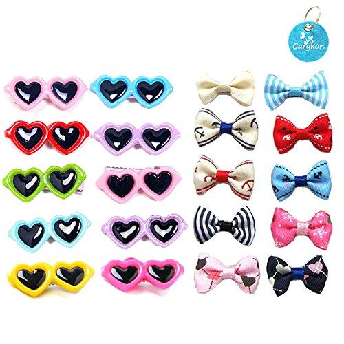 Carykon Haarspangen für Hunde, Herzform, Sonnenbrille, Haustierhaarschleifen, Krokodil-Haarnadeln, kleine Tier-Haarspangen, Haustier-Haarzubehör, mehrfarbig, 20 Stück