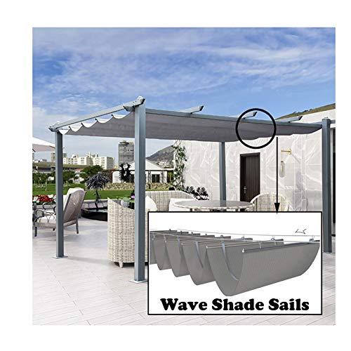 Sonnensegel Sichtschutznetz, Einziehbar Wave Canopy Cover, Sonnenschutz Durchlässige Markise, Vorhang Im Freien, Zum Deck Dach Carport, LJAINW