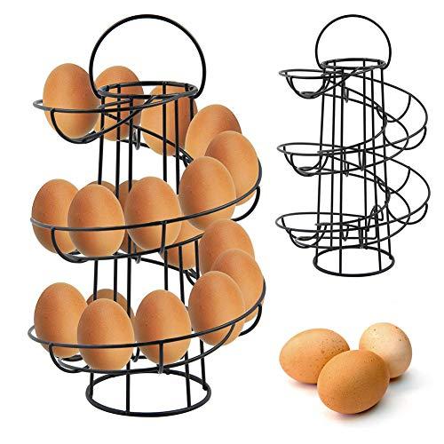 ERLINGO Estante de almacenamiento de huevos con diseño espiral, estante dispensador moderno de lujo, ahorro de espacio, cesta de huevos en espiral (negro)