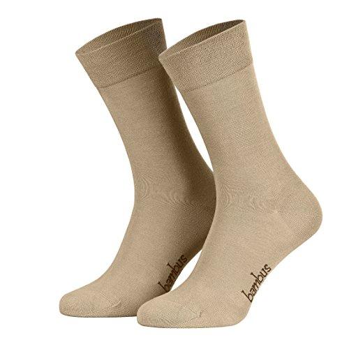 Piarini Gr. 43 44 45 46 6 Paar Bambussocken Herrensocken Anzugsocken lang antibakteriell beige