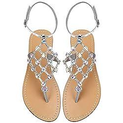 Silver Gladiator Cross Tie Flat Sandals