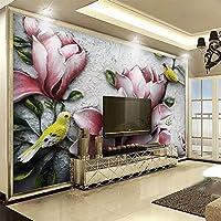 3Dエンボスマグノリア花写真壁画リビングルームホテルエントランス背景壁布豪華な装飾3D-150x120cm
