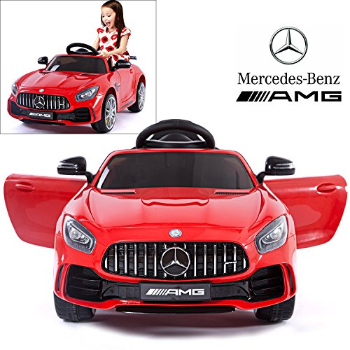 Mercedes Benz AMG GTR Electric Ride On Car with Remote Control for Kids | 12V Power Battery Official Licensed Kid Car to Drive with 2.4G Radio Parental Control Opening Doors Red
