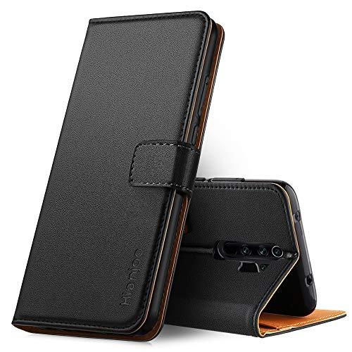 Hianjoo Hülle Kompatibel für Xiaomi Redmi Note 8 Pro, Handyhülle Premium Leder Flip Wallet Hülle Kompatibel für Xiaomi Redmi Note 8 Pro [Standfunktion/Kartenfächern/Magnetic Closure Snap], Schwarz