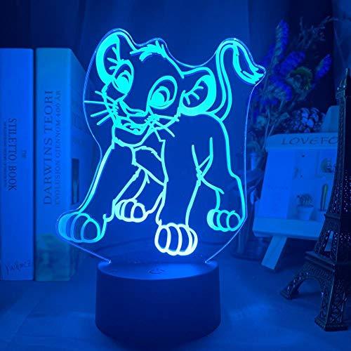 Lumière 3D Illusion veilleuse optique Simba Lion King autour de la main adapté aux enfants de la chambre, amis, anniversaires, cadeaux de la Saint-Valentin - Black Base_Lion Nana
