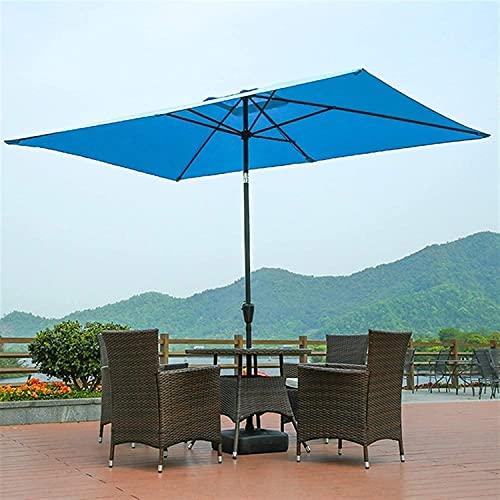 CHLDDHC Paraguas de manivela de protección Solar, Paraguas de Mercado Rectangular, Paraguas de jardín, Paraguas de Aluminio de 3 MX 2 m (Color: Azul)