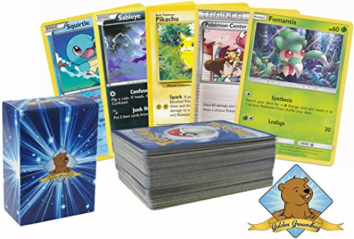 100 Random Pokemon Cards - Instant Collection - All Cards Guaranteed Authentic | Includes Golden Groundhog Card Storage Box for Any Pokemon Fan!