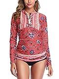 Women's Long Sleeve Half-Zip Sun Protection Floral Rashguard Side Adjustable Swim Shirt CA105-F82-XL