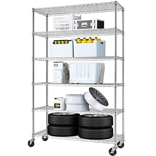 SUNCOO 6-Shelf Shelving Storage Unit with Stiffeners Commercial Wire Shelves Metal Organizer Wire Rack On Wheels for Kitchen Garage (46