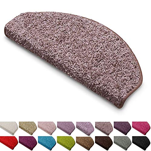 casa pura Shaggy Stufenmatten Barcelona Schutz für Treppenstufen | weicher Hochflor | GUT-Siegel und Blauer Engel | halbrund | Einzeln oder als Set | viele Farben | 15er Set | Beigebraun