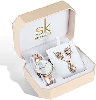 SK Women Earring Watches Luxury Rose Gold and Gold Jewelry Set Female Watch Set Christmas Gifts