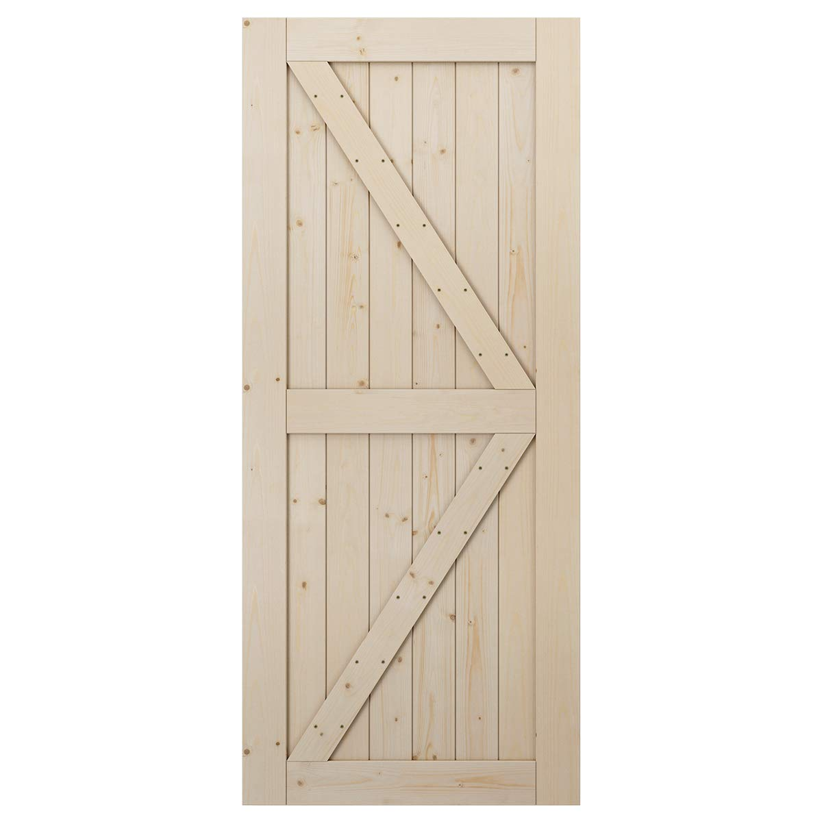 DIY Unfinished Panel Environmental Fit 6FT-6.6FT Track Easy Installation K-Frame LD Build 36in x 84in Sliding Barn Wood Door Slab Solid Nature Wood