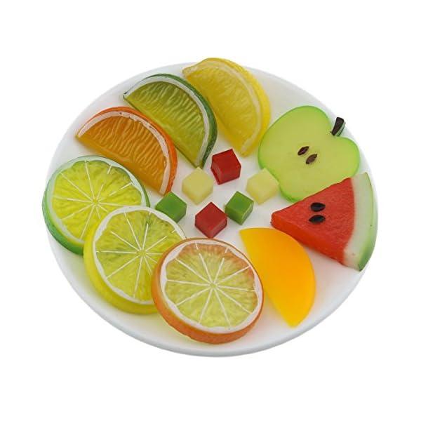 Gresorth Premium Artificial Fruit Slice Fake Lemon Apple Kiwi Watermelon Strawberry Cherries Home Decoration